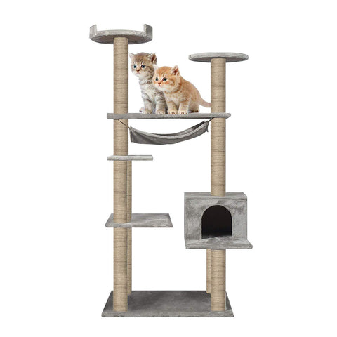 "55.1"" Multi-Scratcher Scratching Post Cat Tree – Grey"