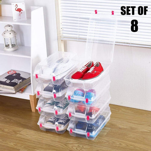 Bosonshop 8 Pack Stackable Clear Plastic Shoe Box Multi-purpose Transparent Closet Storage Box Container for Home Office