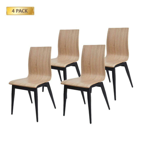 Bosonshop Kitchen & Dining Room Chairs with Bentwood and Metal Legs Set of 4 Oak