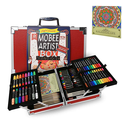 Bosonshop Portable Aluminum Alloy Artist-Box 97-Piece Deluxe Painting Art Set Kit as A Gift for Children