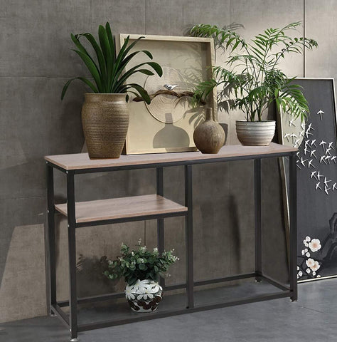 Bosonshop Coffee Table Console Sofa & Tables with Display Shelf Metal Frame