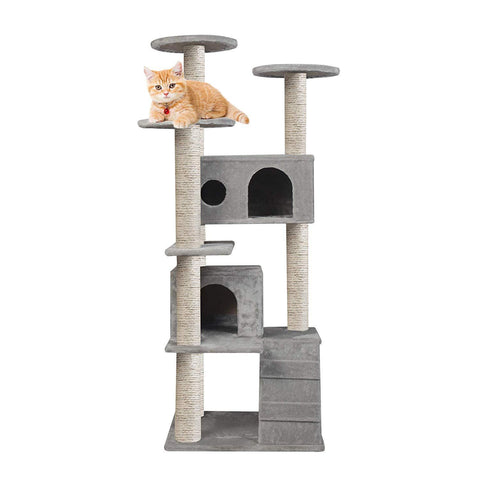 "53.9"" Cat Tower Scratching Post Activity Tree House - Grey"