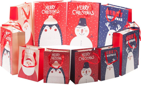 Christmas Paper Gift Bags Bulk Assortment 1 Dozen Holiday Themes Print Gift Bags with Handles 3 Sizes 4 Patterns Character