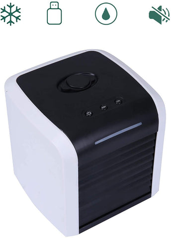 Portable Air Conditioner, USB Personal Mini Air Cooler for Home Office Bedroom with 2 Speeds, 7-Colors LED Light, Quiet, Adjustable Vane