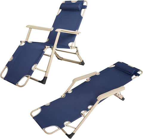 "Set of 2 Heavy Duty Lounge Chairs and Full Flat Cot 2 Positions, Folding Reclining Chairs for Outdoor Beach Pool Camping, Blue, 70""L X 20.5""W, Blue"