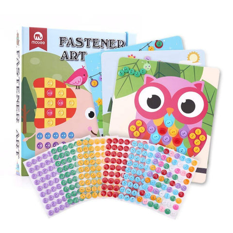 Bosonshop DIY Handmade Art Kits for Kids Button Sticker Mosaic Color Matching Fastener Art with 8 Dot Markers