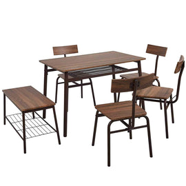 6 Piece Wooden Dining Table Set, Bench Retro Style, Brown