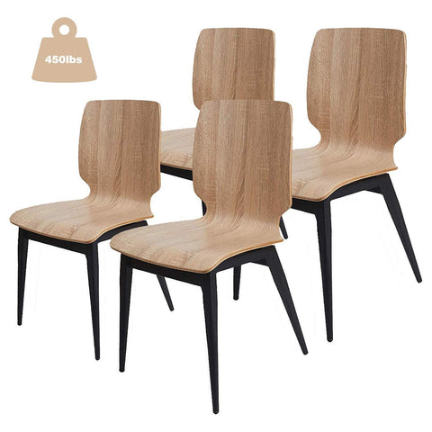 Bosonshop 4 Pack Kitchen Dining Chairs with Bentwood Seat and Metal Legs,Ergonomic Design, Natural
