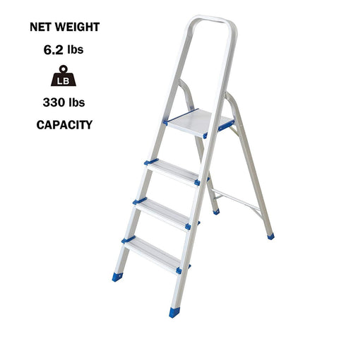 Bosonshop Foldable Aluminum 4 Step Ladder with Anti-Slip, Household