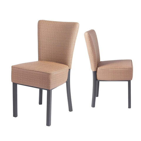 Upholstered Dining Chairs,Kitchen PU Leather Padded Chair, Modern Dining Room Furniture, Set of 2(Brown)