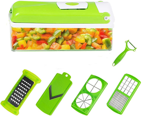 Salad Chopper Kitchen Manual Food Chopper Vegetable Veggie Cutter including Food Container Peeler Julienne and Slicer, Stainless Steel