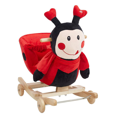 Bosonshop Stuffed Animal Rocker Children Rocking Horse Wooden& Plush Rocking red Ladybug