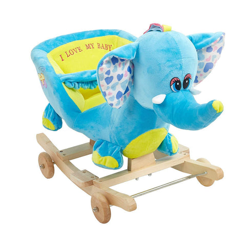 Bosonshop Plush Animal Rocking Horse with Wheels, Blue Elephant