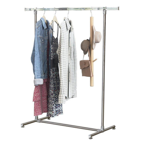 Bosonshop Heavy Duty Stainless Steel Single Rail Clothes Rack Free Standing Garment Rack