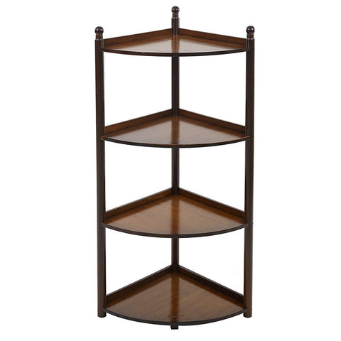 Bosonshop 4 Tier Bamboo Wall Corner Shelf Display Stand Freestanding Modular Shelving Bookcase Shelf