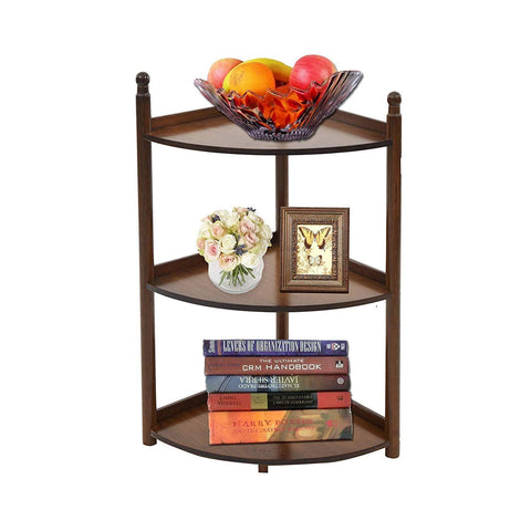 Bosonshop 3 Tier Bamboo Multi-Functional Wall Corner Shelf Freestanding Modular Display Stand Modular Shelving Bookcase