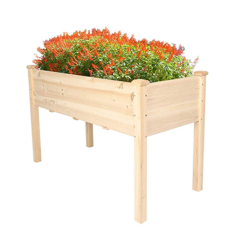 Raised Garden Bed Wood Patio Elevated Planter Box Kit with Stand for Outdoor Backyard Greenhouse (Natural)