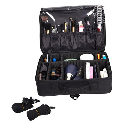 Bosonshop Portable Makeup Train Case 3 Layer Cosmetic Travel Storage Organizer Bag with Dividers and Brush Pockets