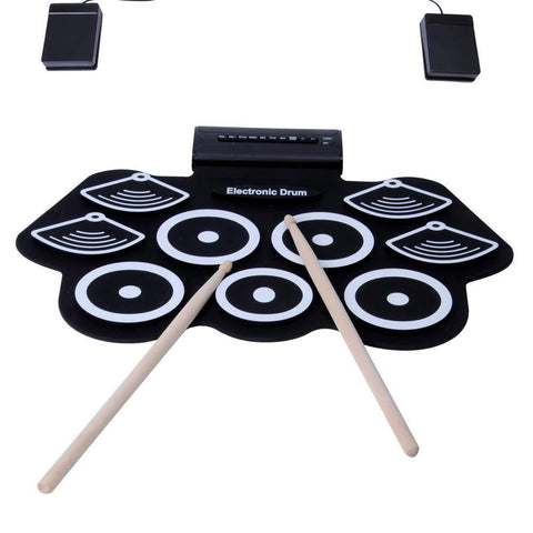 Bosonshop Portable Electronic Drum Set Roll Up Drum Kit Pad 9 Electric Drum Pads with Headphone Jack