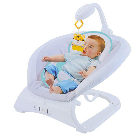 Baby Contrast Bouncer with Vibrating Seat Baby Rocker Sleeper, Blue