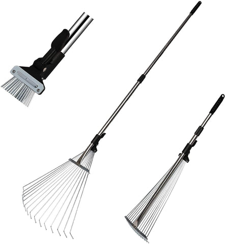 "Garden Leaf Rake Adjustable Lightweight 62.6 Inches Telescopic Metal Rake with Expandable 7.5""-20"" Width Folding Head"