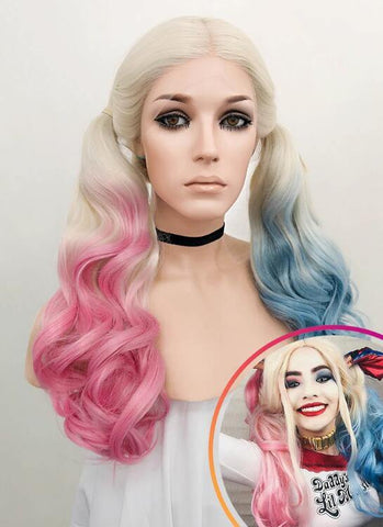 Wavy Blonde Harley Quinn Synthetic Pink Blue Ponytail Lace Front Wig