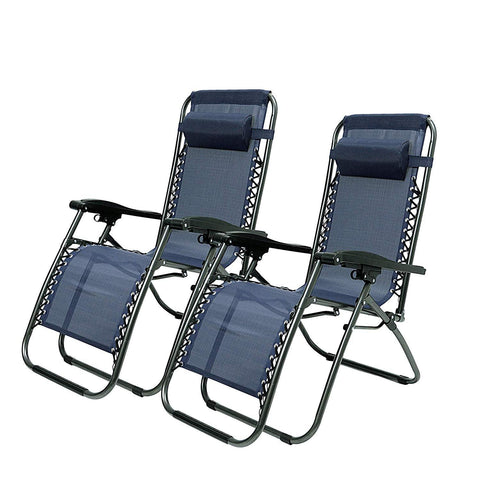 Bosonshop Adjustable Zero Gravity Patio Lounge Chairs 2PC Blue