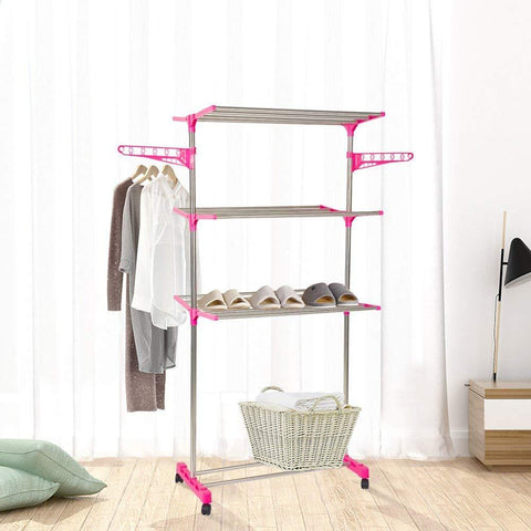 Bosonshop 3-Tier Foldable Rolling Clothes Drying Rack Stainless Steel Garment Rack with Wheels