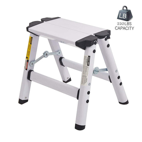 Bosonshop Aluminum 2-Step Stool Folding Double Sided Step Ladder Anti-Slip Sturdy, Capacity 220 lbs