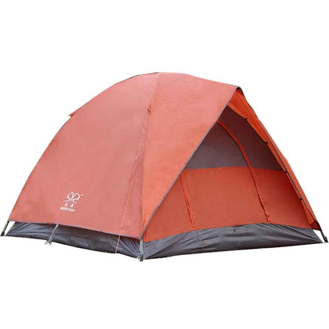 Bosonshop Outdoor Double layer Waterproof Family Tent for Traveling, Camping, Hiking with Portable Bag, Red