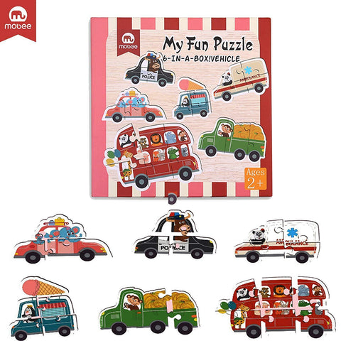 Bosonshop  6-in-1 Educational Jigsaw Puzzles with Reference Sample for Preschool Kids, Vehicle Puzzle
