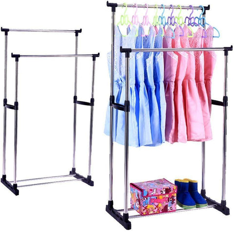 Bosonshop Portable Double Rods Rolling Clothes Rack Adjustable Garment Rack Hanging Rack for Clothes