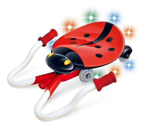 Bosonshop B/O Ride on Slide Car with Cute Ladybug Shape, with Music and Light, Red