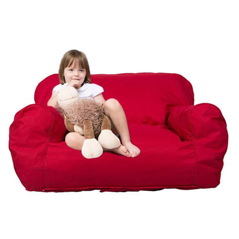 Kids Mini Size Lounger Sofa Bean Bag Chair Self-Rebound Sponge Double Child Seat, Red