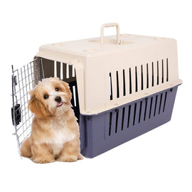 Plastic Cat & Dog Carrier Cage with Chrome Door Portable Pet Box Airline Approved
