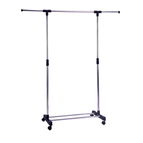 Bosonshop Portable Single Rod Extendable Clothes Rack Garment Rack -with Wheels Storage Shelves