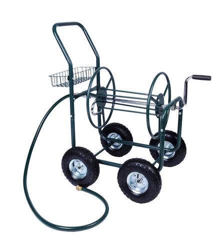 Bosonshop 4 Wheels Heavy Duty Garden Hose Reel Cart with Storage Basket,Holds 390FT Hose