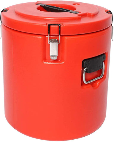 Commercial 30L Large Food Warmers Bucket Double Stainless, Keep Food Cold Hot Constant Temperature for Restaurant,Party Meal (Red)
