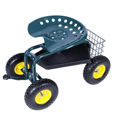Bosonshop Rolling Garden Steerable Tool Cart Scooter with 360 Swivel Seat and Tool Storage Basket, Green