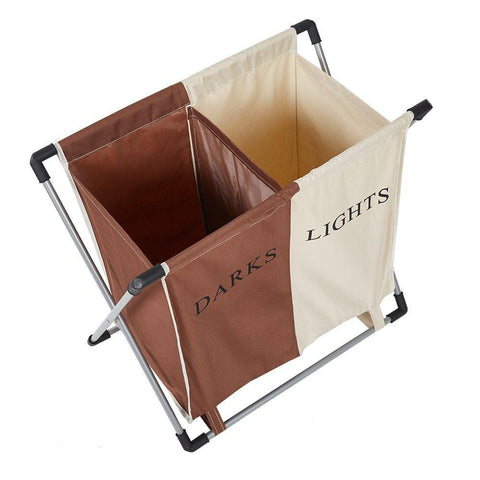 Bosonshop Double Basket Floding Laundry Hamper with X-Frame for Apartment Home College Use