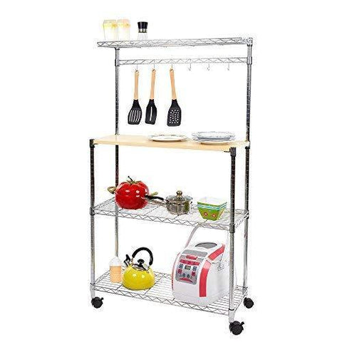 Bosonshop 4 Tier Adjustable Kitchen Bakers Storage with Spice Rack Organizer and Cutting Board