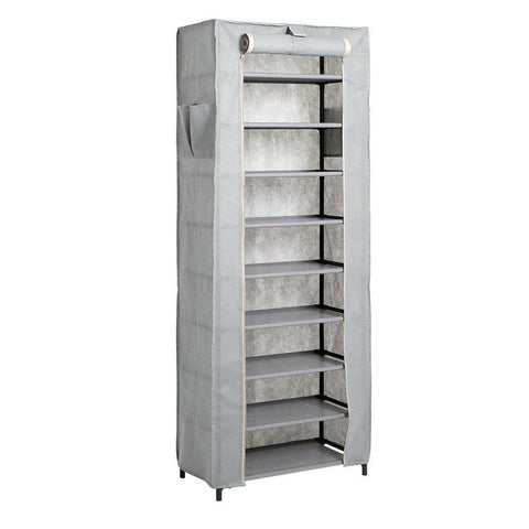 Bosonshop 10 Tiers Shoe Rack with Dustproof Cover Shoes Storage Cabinet Boot Organizer Gray