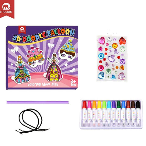 Bosonshop 3D Creative Art Drawing Play Set Painting Drawing Toys Kids Girls Masks and Princess Balloons