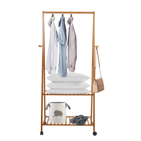 Bosonshop Bamboo Garment Clothing Rack with Wheels and Hooks