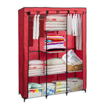 Bosonshop Portable Clothes Closet Non-Woven Fabric Free, Red