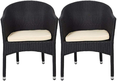 Patio Rattan Chair Set of 2 Stackable Coffee Dining Wicker Chair with Cushions & Arm, Black