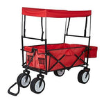 Bosonshop Outdoor Folding Wagon Collapsible Utility Cart with Removable Canopy and Storage Basket Red