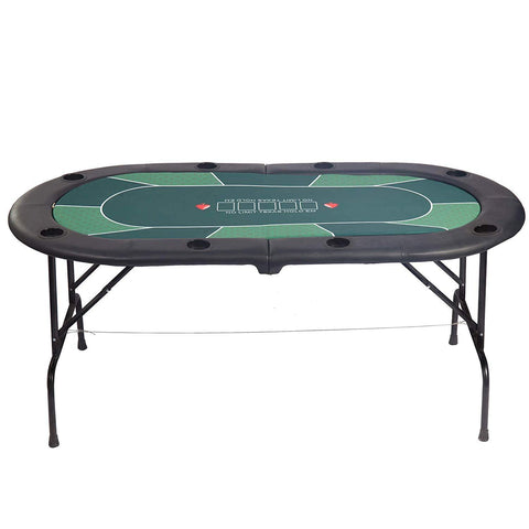 Bosonshop 8 Players Foldable Poker Table Casino Texas Game Table with Drink Cup Holder