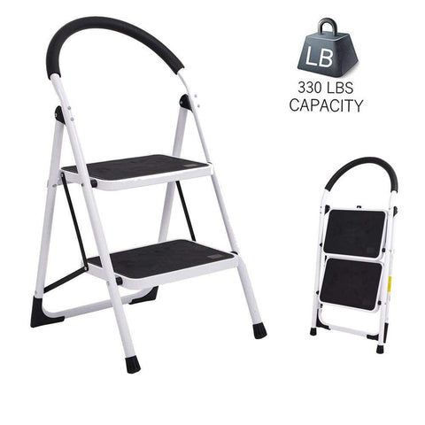 Bosonshop Portable Anti-Slip 2 Step Lightweight Steel Ladder, 330LBS Capacity