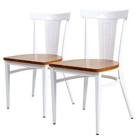 Bosonshop  2 Packs High Back Dining Chairs Metal Leg Side Chairs with Wood Seat, White